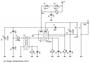 Schaltplan Röhrenoszillator mit Obertonquarz
