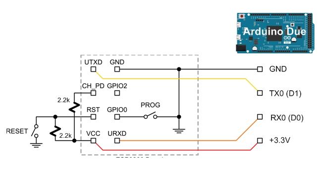 ESP8266-01 mit Arduino Due programmieren